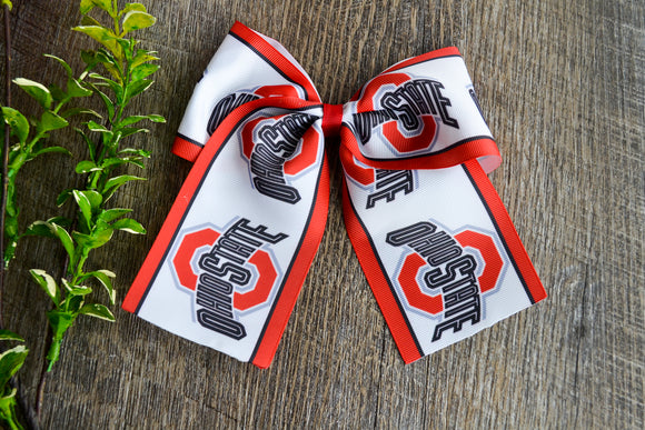 Ohio State OSU Pattern Ribbon Cheer Bow Clip - Dream Lily Designs