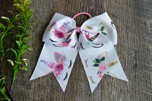 White Printed Unicorn Pattern Cheer Bow - Dream Lily Designs