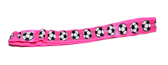 Pink Soccer Patterned Elastic Headband - Dream Lily Designs