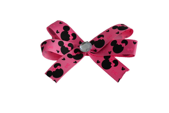 Bubblegum Pink Thin Ribbon Minnie Bow (Minnie) - Dream Lily Designs