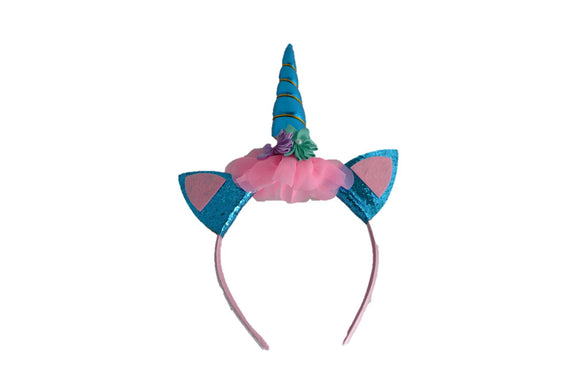 Blue Unicorn Headband with Ears - Dream Lily Designs