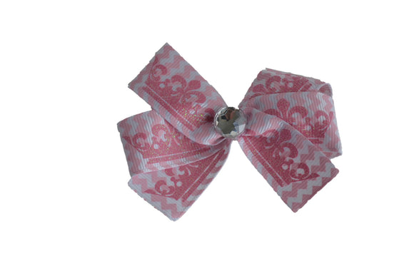 Pink Glitter Princess Pattern Bow (Misc Patterns) - Dream Lily Designs