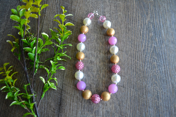 Light Pink Pearl Gold Chunky