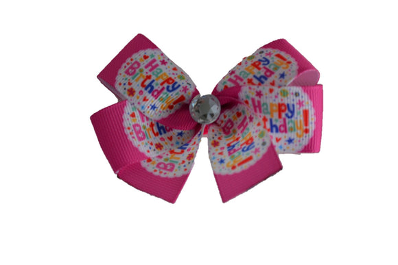 1 Inch Happy Birthday Pattern Bow (Misc Patterns) - Dream Lily Designs