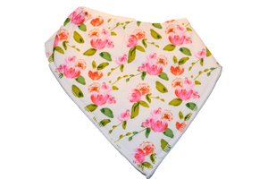 White Bandana Bib with Pink Flowers and Green Leaves