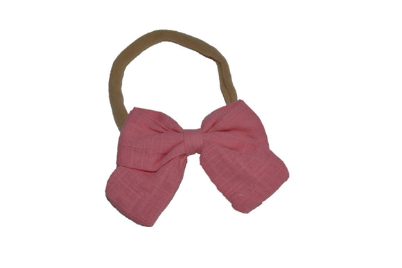 Coral Pink Linen Bow Baby Nylon Headband - Dream Lily Designs