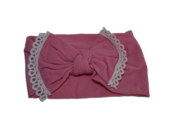 Pink Nylon Bow Knot with Lace Trim Baby Wide Headband - Dream Lily Designs