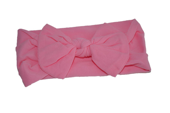 Pink Peach Nylon Bow Knot Baby Wide Headband - Dream Lily Designs