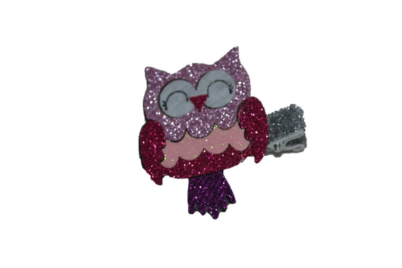Animal and Bug Ribbon Sculpture Hair Clip - Glitter Owl - Dream Lily Designs