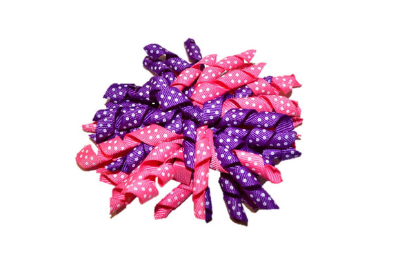 Purple Pink Large Korker Ribbon Hair Bow Clip - Dream Lily Designs