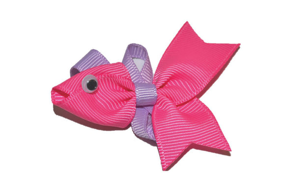 Animal and Bug Ribbon Sculpture Hair Clip - Pink Purple Fish