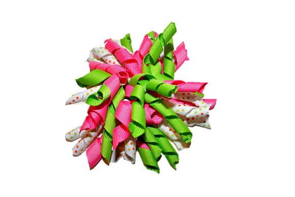 Pink Green White Polka Dot Large Korker Ribbon Hair Bow Clip - Dream Lily Designs