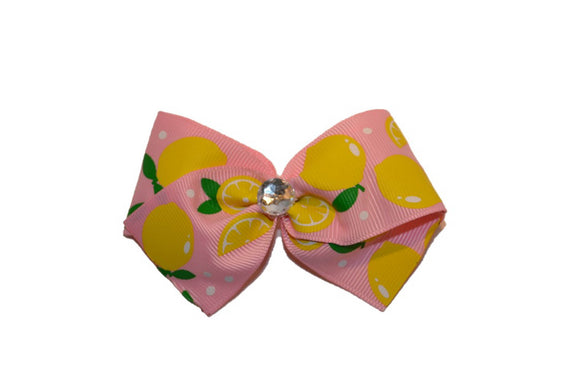 1.5 Inch Light Pink Lemon Pattern Hair Bow (Food) - Dream Lily Designs