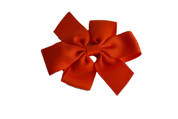 Orange Flat Pinwheel Hair Bow Clip - Dream Lily Designs