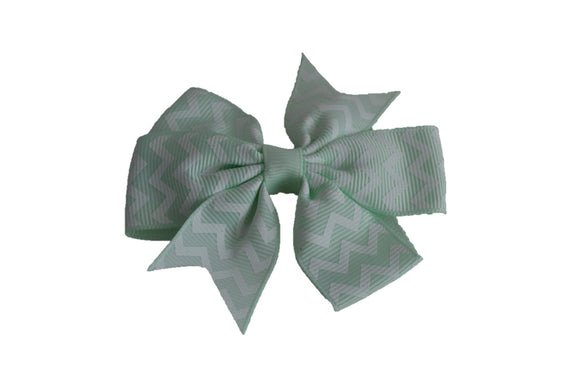 Light Mint and White Chevron Pinwheel Hair Bow Clip - Dream Lily Designs