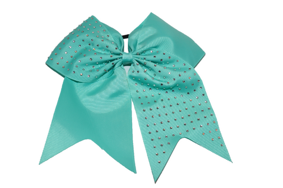 Aqua Rhinestone Cheer Bow