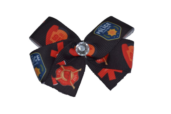 Police EMT Fire Dept Hair Bow (Service) - Dream Lily Designs