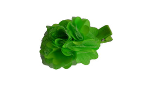 Small Silk Puff Flower Hair Clip - Bright Green - Dream Lily Designs