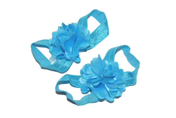 Bright Blue Puff Baby Barefoot Sandals - Dream Lily Designs