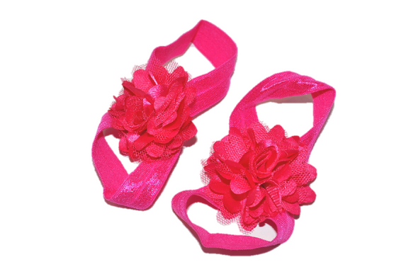 Hot Pink Puff Baby Barefoot Sandals - Dream Lily Designs