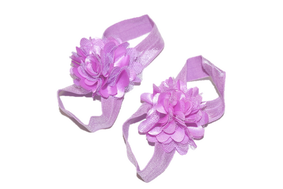 Light Purple Puff Baby Barefoot Sandals - Dream Lily Designs