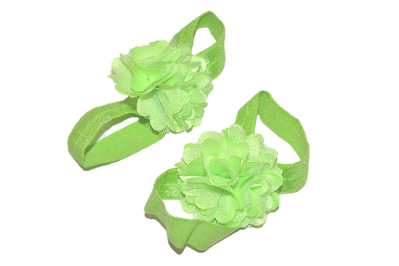 Lime Green Puff Baby Barefoot Sandals - Dream Lily Designs