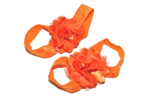 Orange Puff Baby Barefoot Sandals - Dream Lily Designs