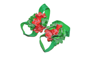 Red and Green Puff Baby Barefoot Sandals - Dream Lily Designs