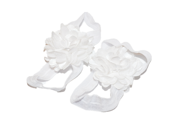 White Puff Baby Barefoot Sandals - Dream Lily Designs