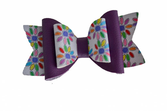 Purple Girl Scout Daisy Large Pattern Leather Bow Clip - Dream Lily Designs