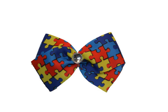 1.5 Inch Autism Puzzle Piece Pattern Bow (Misc Patterns) - Dream Lily Designs