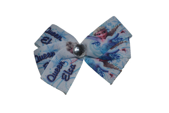 Frozen Queen Elsa White with Blue Snow Flakes Princess Bow (Disney) - Dream Lily Designs