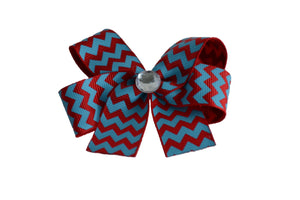 Red Blue Chevron Bow (Stripes and Chevron) - Dream Lily Designs