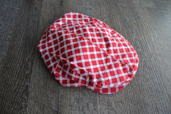 Boy Cabbie Hat, Tie and Diaper Cover Set - Red White Plaid Hat Only - Dream Lily Designs