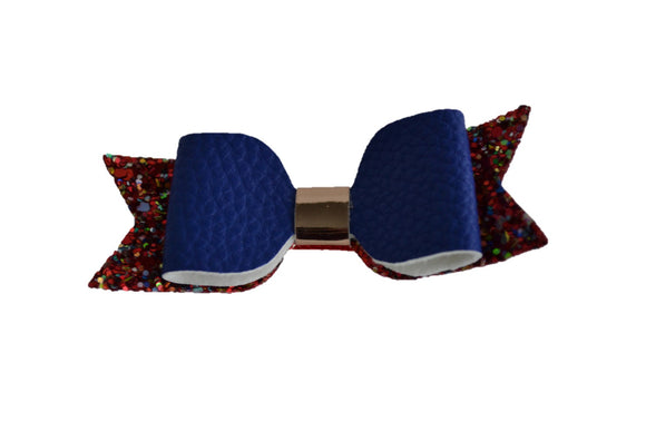 Royal Blue Red Leather and Glitter Bow - Dream Lily Designs