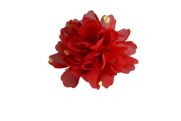Gold Foil Polka Dot Chiffon Flower Hair Clip - Red - Dream Lily Designs