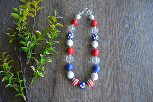 "Red White Blue Chunky ""Bubblegum Bead"" Necklace - Dream Lily Designs"