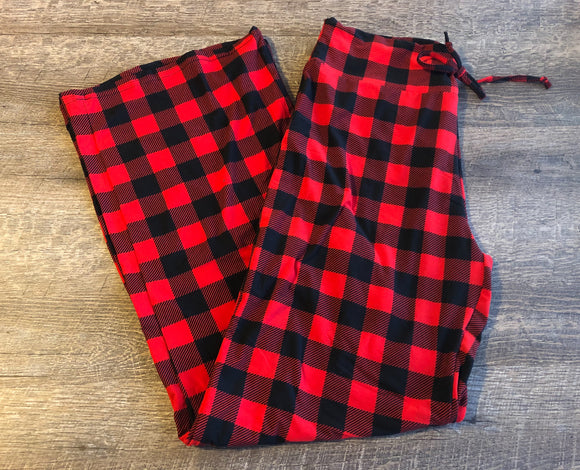 Womens or Teen Yoga Lounge or Pajama Pants - Legging Depot Brand - Ankle Length - Red Black Buffalo Plaid - Dream Lily Designs