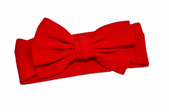 Fabric Bow Baby Headband - Red - Dream Lily Designs