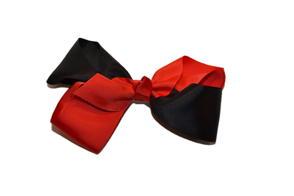 Black Red School Spirit 6 Inch Boutique Hair Bow - Dream Lily Designs