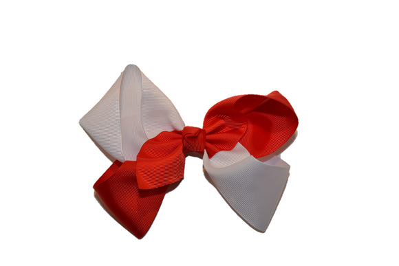 Red White School Spirit 6 Inch Boutique Hair Bow - Dream Lily Designs