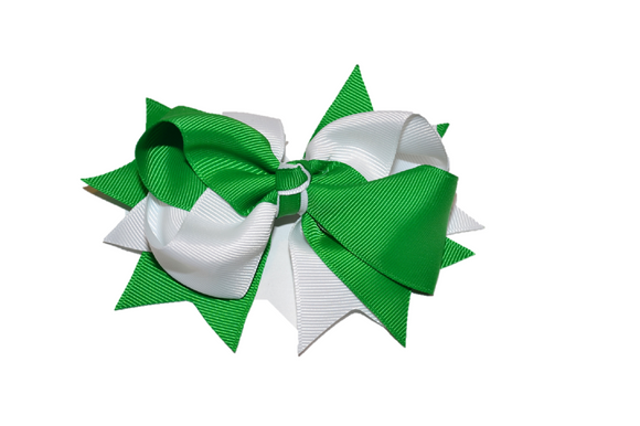 Green White Boutique School Spirit Hair Bow - Dream Lily Designs