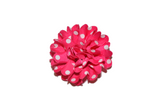 Ribbon Flower Polka Dot Hair Clip - Hot Pink - Dream Lily Designs