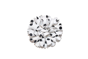 Ribbon Flower Polka Dot Hair Clip - White - Dream Lily Designs