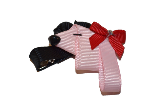 Animal and Bug Ribbon Sculpture Hair Clip - Pink Poodle Dog