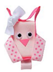 Animal and Bug Ribbon Sculpture Hair Clip - Pink Simple Owl