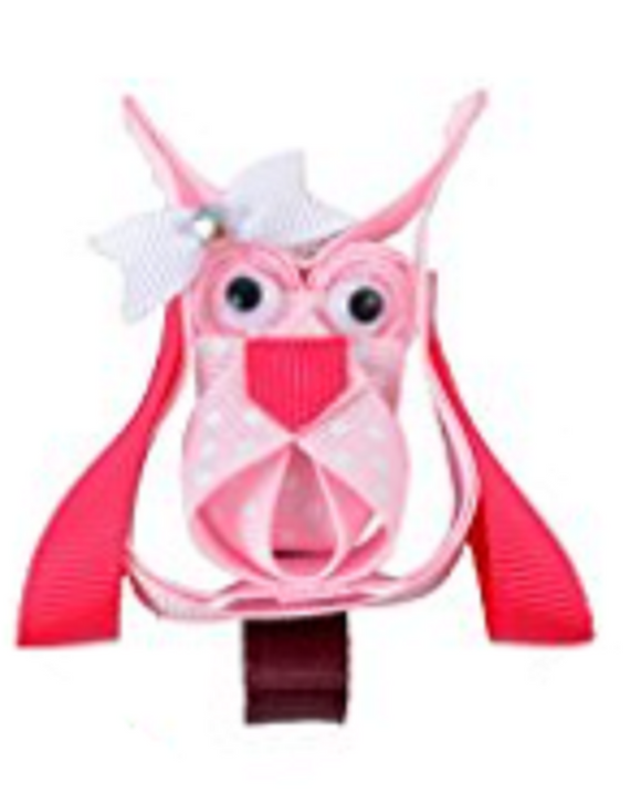 Animal and Bug Ribbon Sculpture Hair Clip - Light Pink Hot Pink Owl