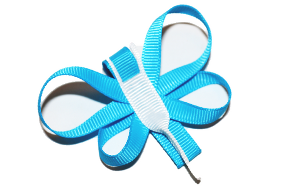 Animal and Bug Ribbon Sculpture Hair Clip - Blue Dragonfly - Dream Lily Designs