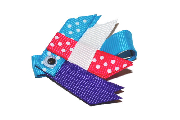 Animal and Bug Ribbon Sculpture Hair Clip - Pink Blue Purple Fish