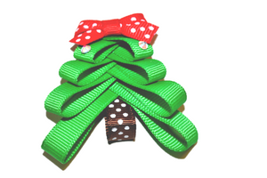 Holiday Christmas Ribbon Sculpture Hair Clip - Tree with 2 jewels on top - Dream Lily Designs